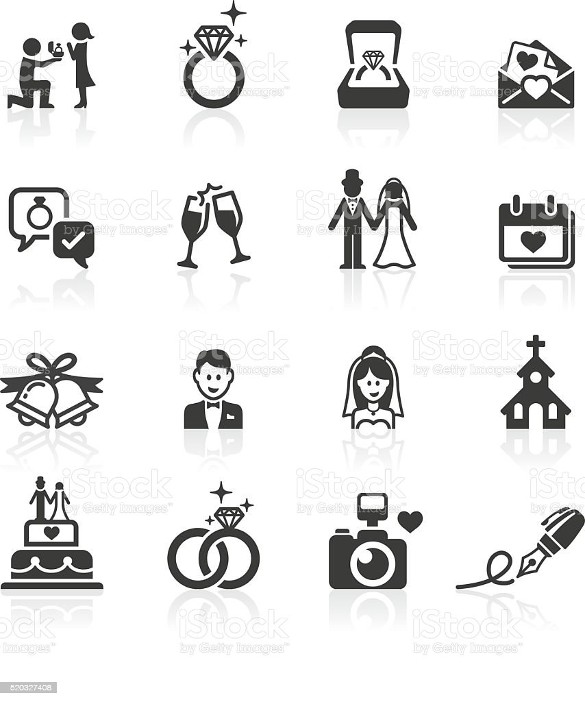 medium resolution of engagement wedding icons vector art illustration