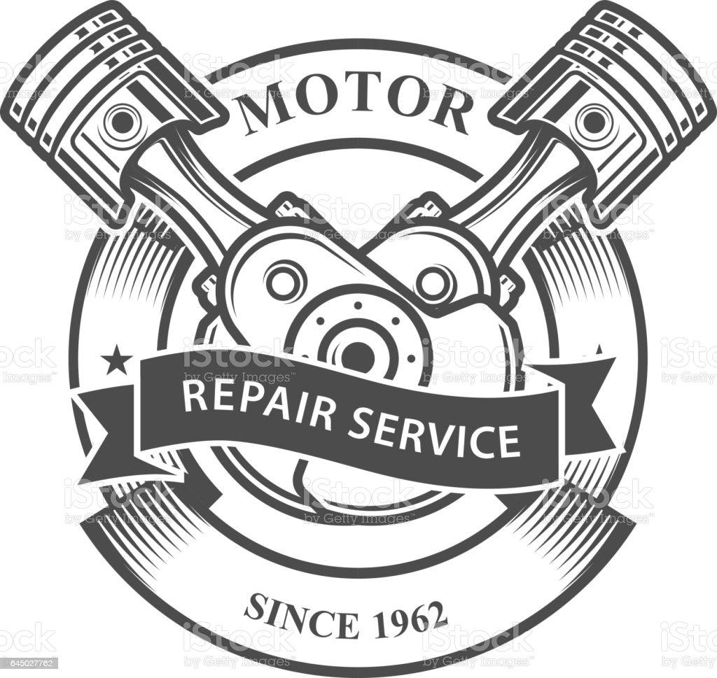 Engine Pistons On Crankshaft Auto Repair Service Emblem