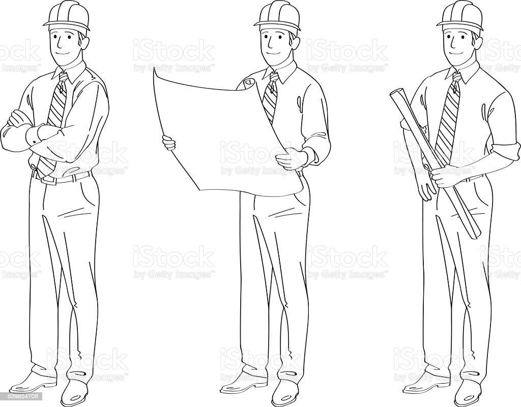 Engineer Line Drawing Illustration Stock Vector Art & More