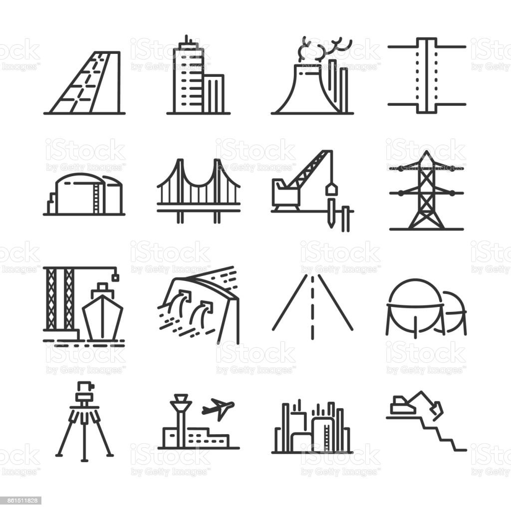 Engineering Line Icon Set Included The Icons As Building