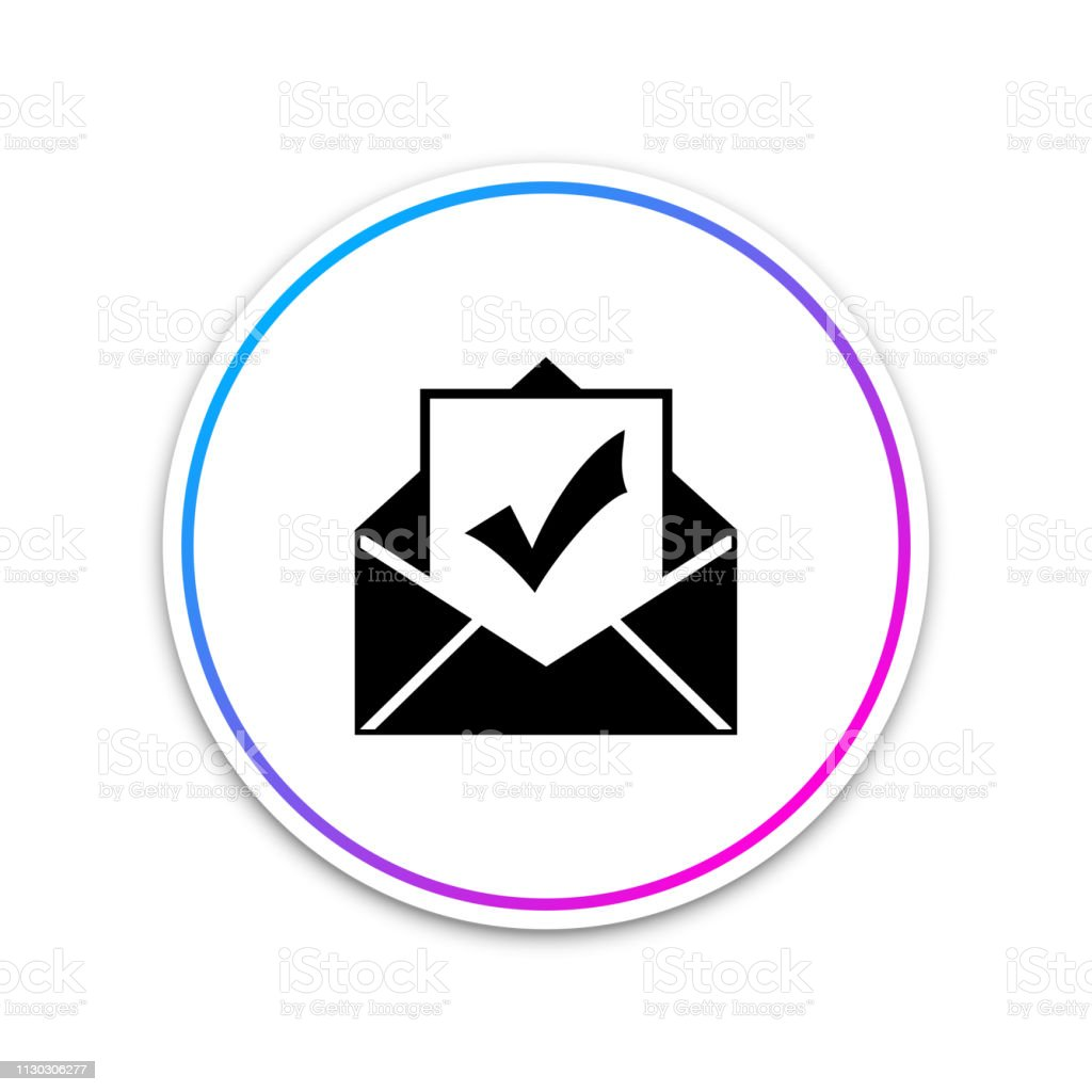 Envelope With Document And Check Mark Icon On White