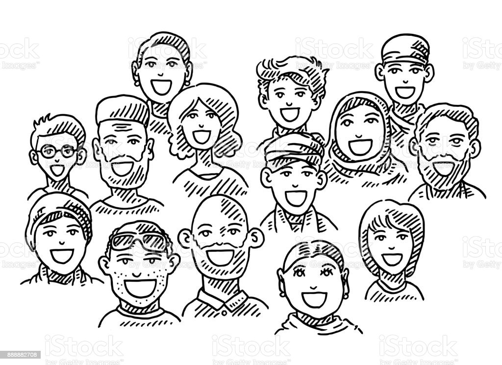 Ethnic Diversity Group Of People Drawing Stock