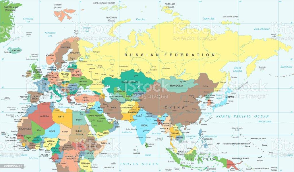 ユーラシア大陸ヨーロッパ ロシア中國インド インドネシア タイ アフリカ地図 ベクトル図 - ます目の ...