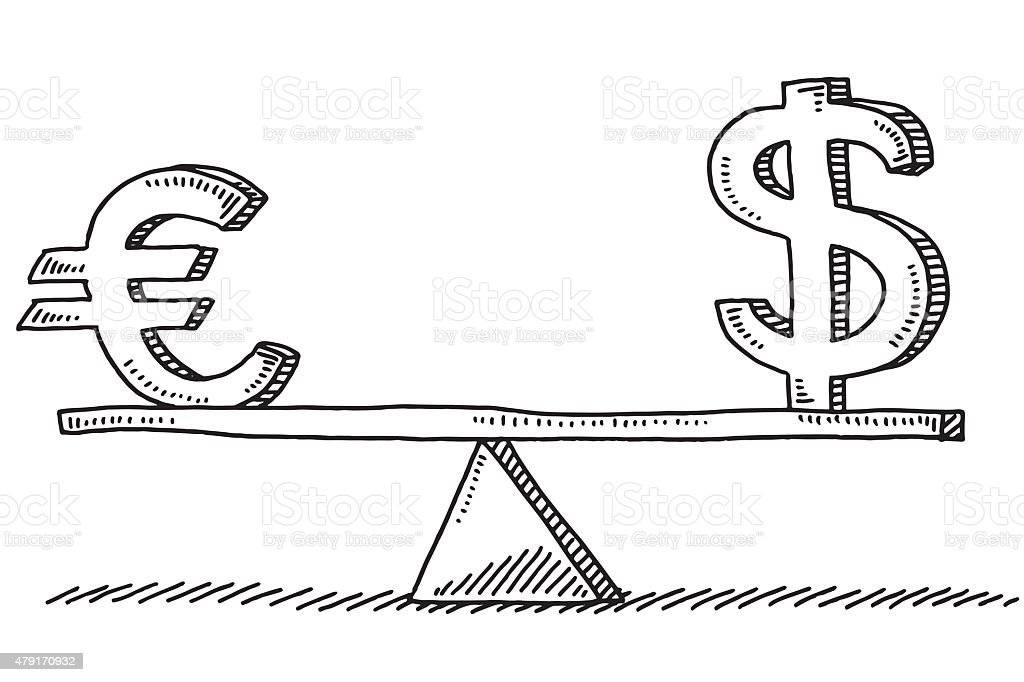 Euro And Dollar Sign Balance Concept Drawing Stock