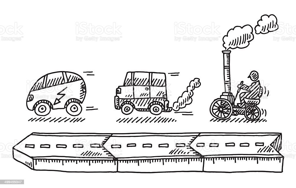 Evolution Of The Car Drawing Stock Vector Art & More