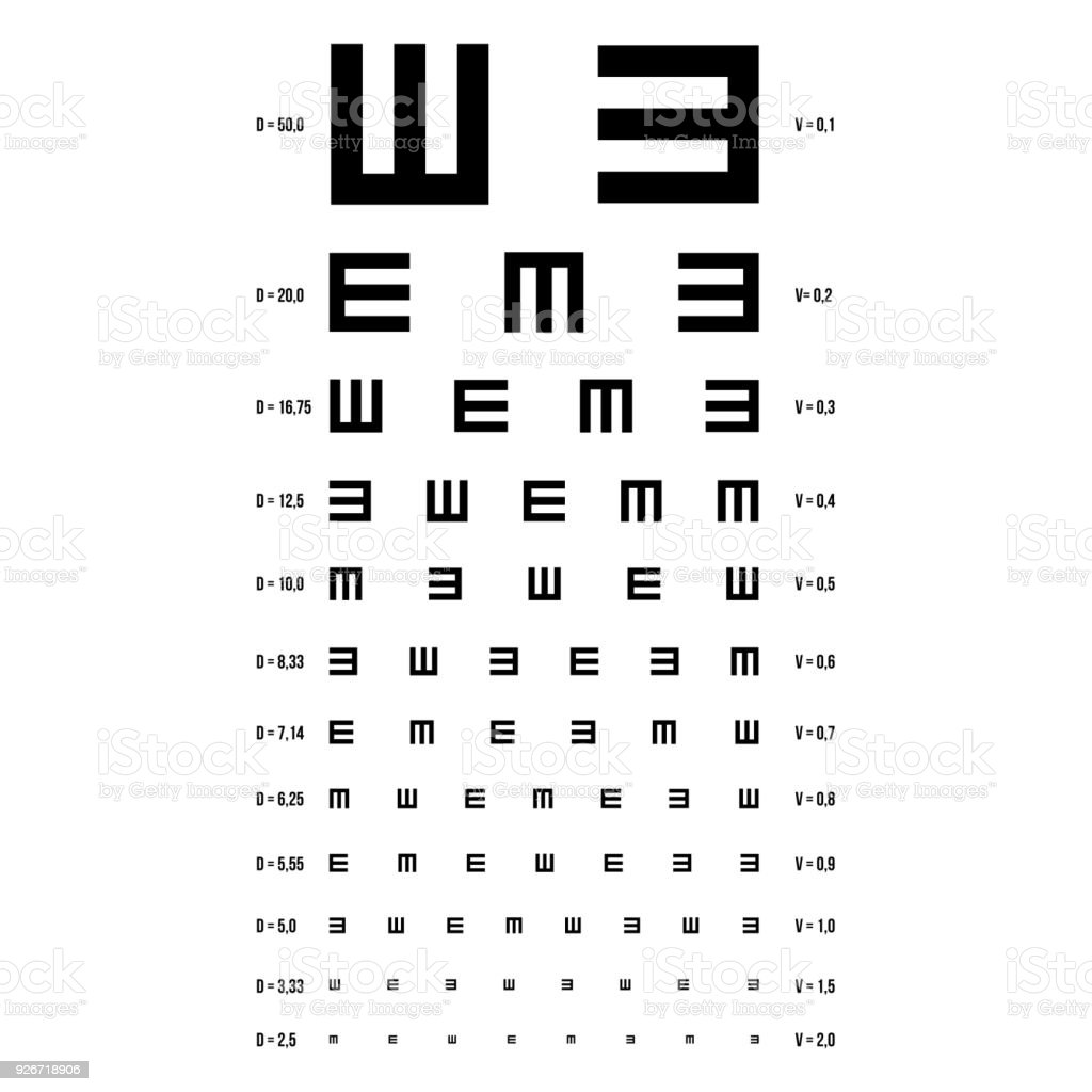 Eye Test Chart Vector E Chart Vision Exam Optometrist