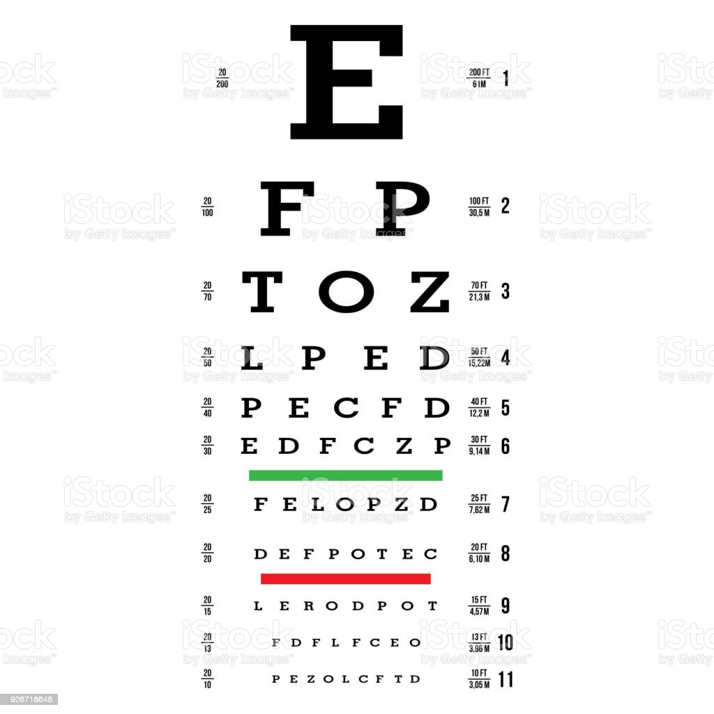 Eye Test Chart Vector Letters Chart Vision Exam