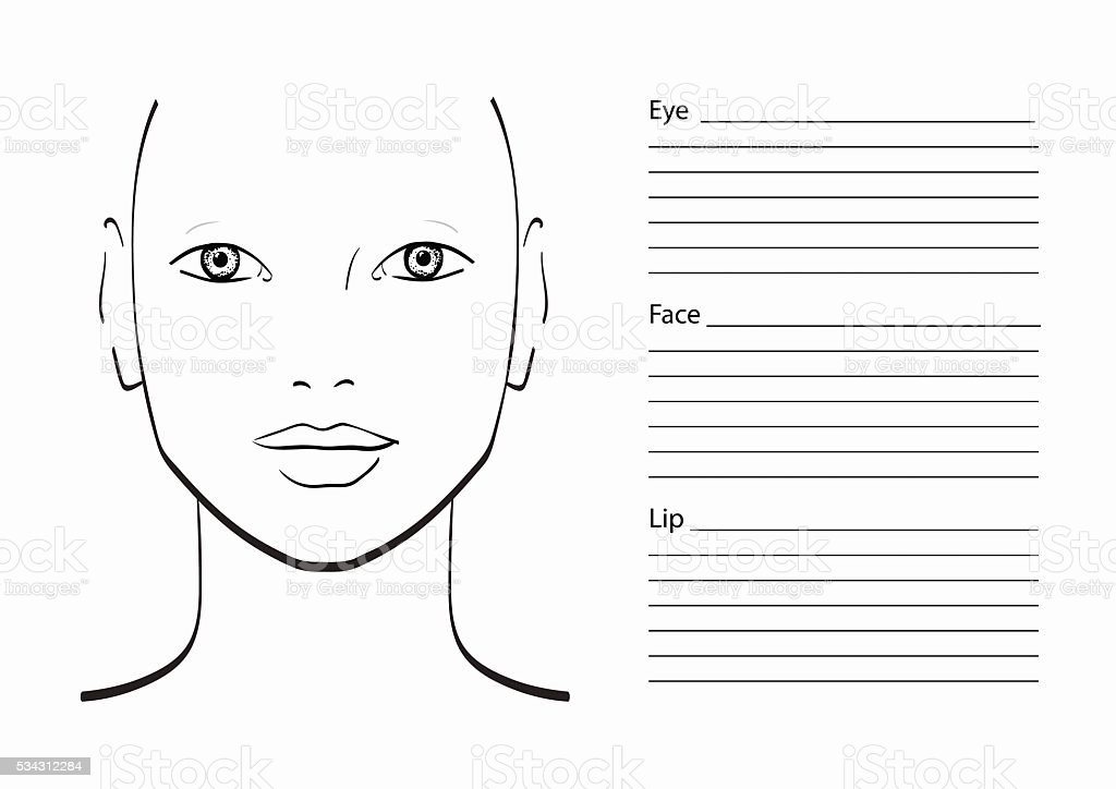 Face Chart Makeup Artist Blank Template Stock Vector Art Amp More Images Of Adult 534312284 IStock