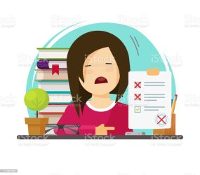 Cartoon of Girl Student Studying & Reading Book Clipart Image