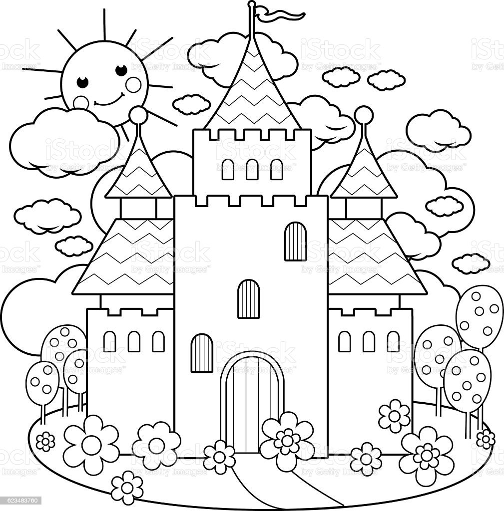 Fairy Tale Castle And Flowers Coloring Page Stock
