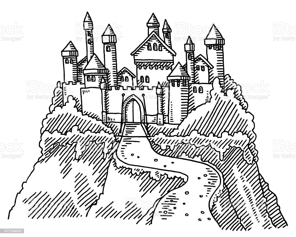 Fairy Tale Castle Drawing Stock Vector Art & More Images