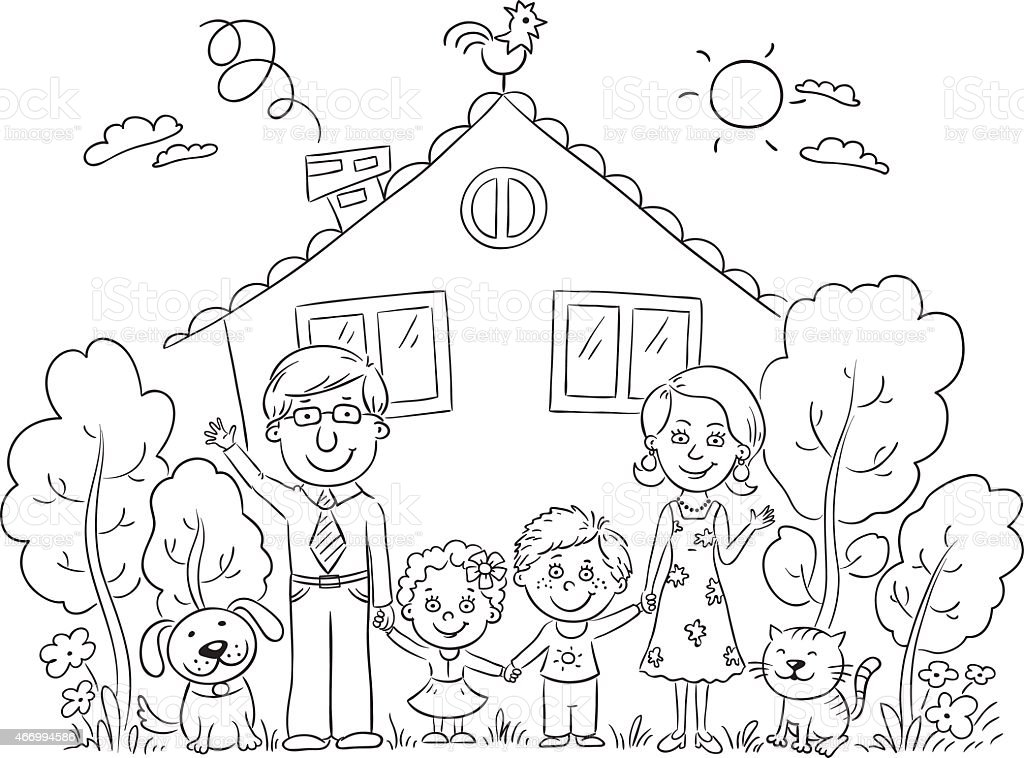 Family At The House Outline Stock Vector Art & More Images