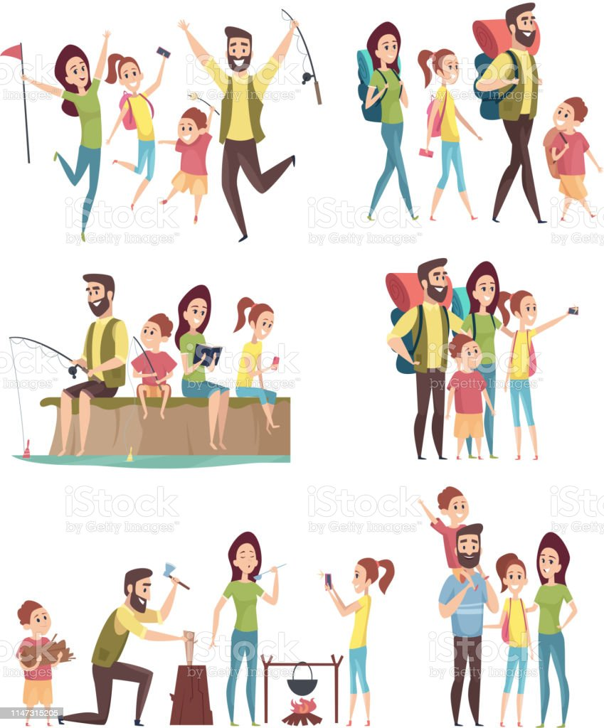 Diverse Families Clipart : diverse, families, clipart, 2,320, Family, Camping, Illustrations, IStock