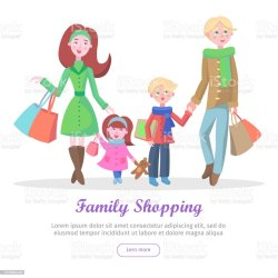 Family Shopping Cartoon Flat Vector Concept Stock Illustration Download Image Now iStock