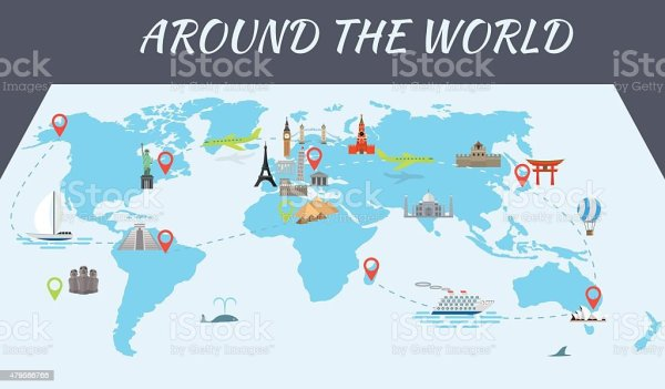 Famous World Landmarks Icons On The Map Stock Vector Art