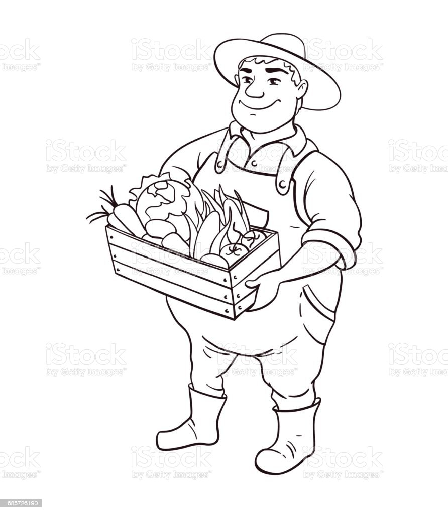 Farmer Lineart Vector Character Cartoon Cute Fat Man In