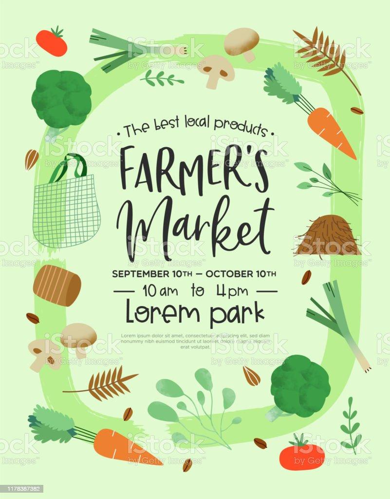 Cartoon Farmers Market : cartoon, farmers, market, Farmers, Market, Poster, Template, Green, Vegetables, Stock, Illustration, Download, Image, IStock