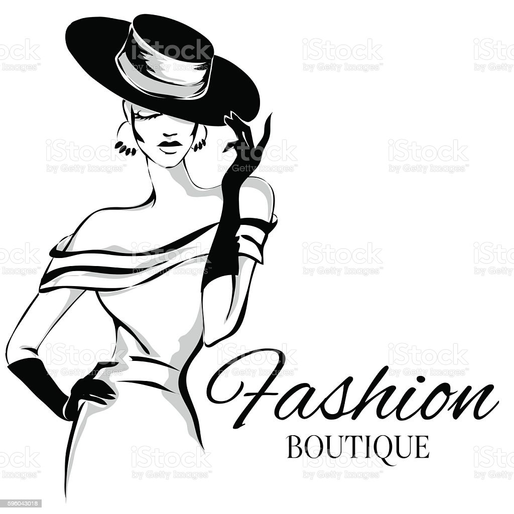 Fashion Boutique Background With Black And White Woman