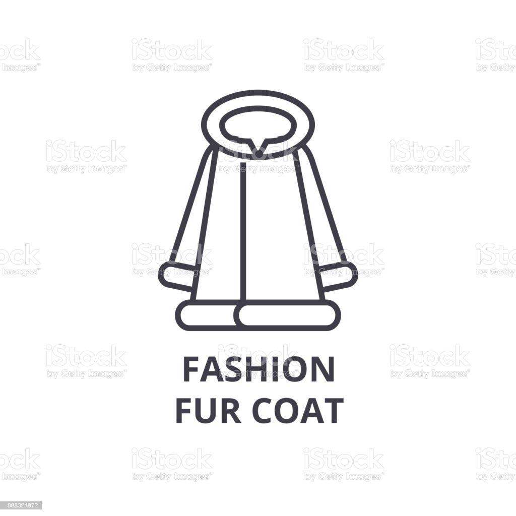 Fashion Fur Coat Line Icon Outline Sign Linear Symbol
