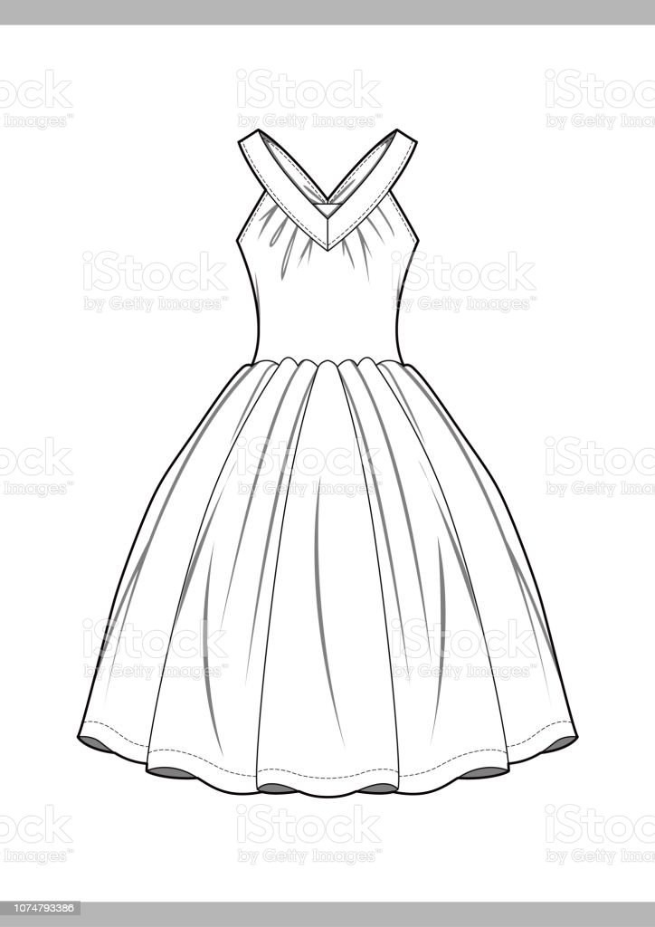 Dress Fashion Technical Drawings Vector Template Stock