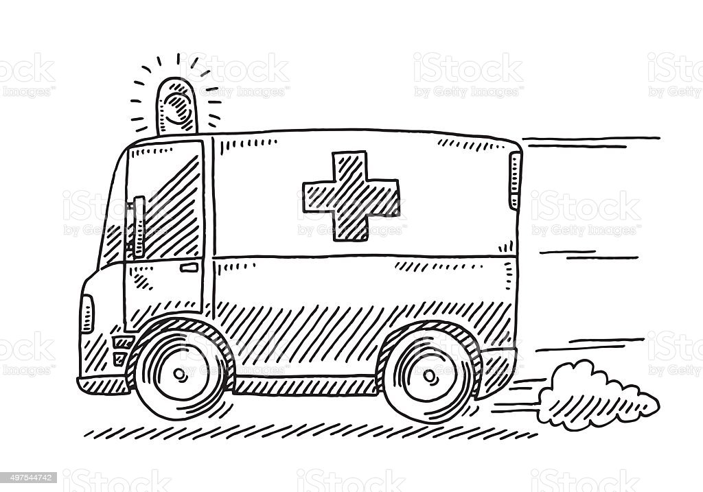 Fast Driving Ambulance Drawing Stock Vector Art & More