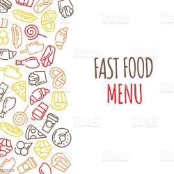 menu background cartoon food fast vector illustration backgrounds burger beef cheese basket