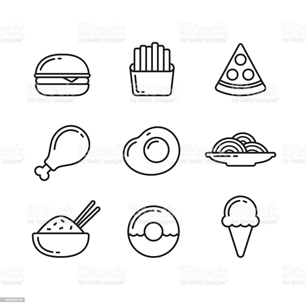 Fast Food Restaurant Line Icons Stock Vector Art & More