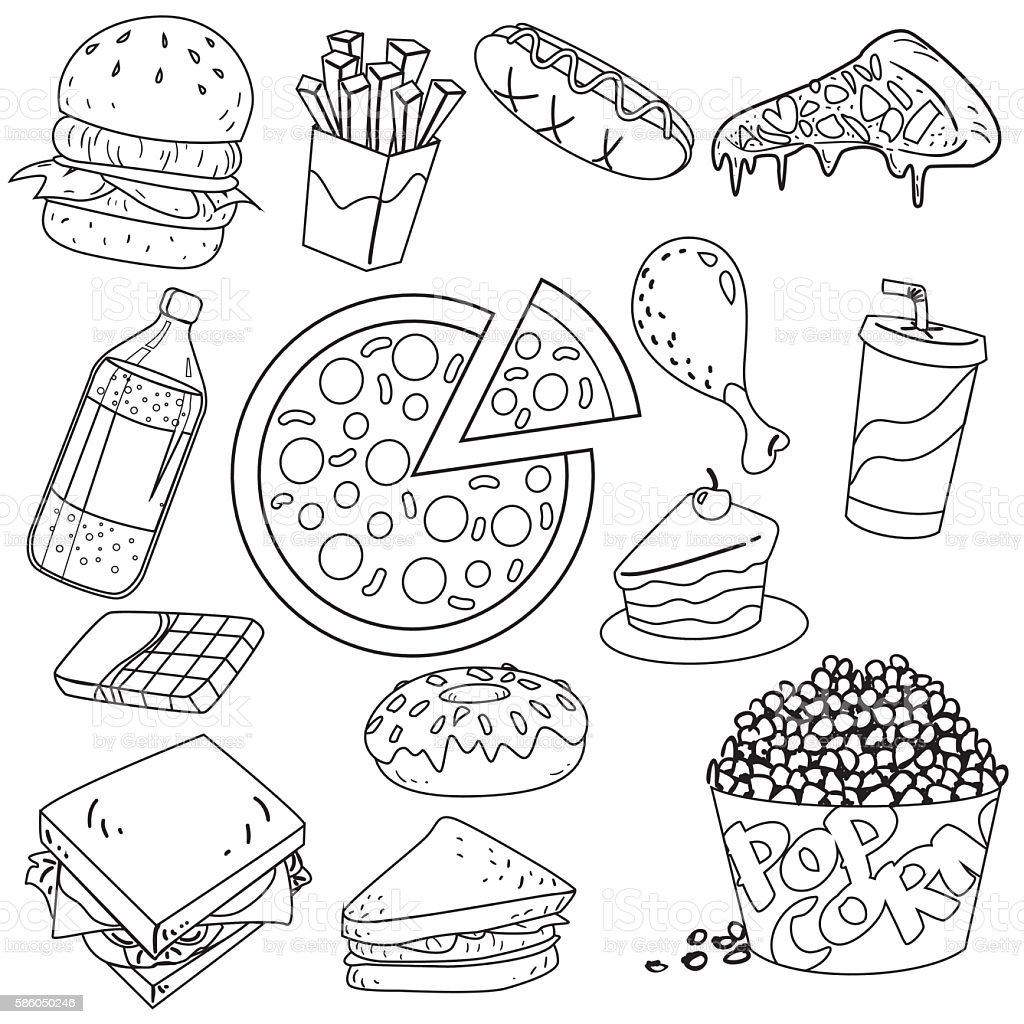 Fast Foods Doodle Stock Vector Art & More Images of Arts