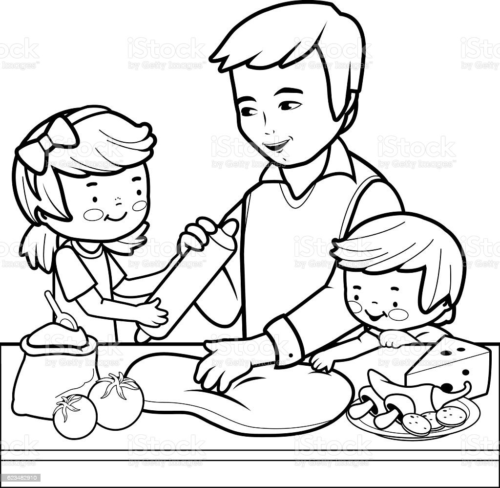 Father And Children Cooking Pizza In The Kitchen Coloring
