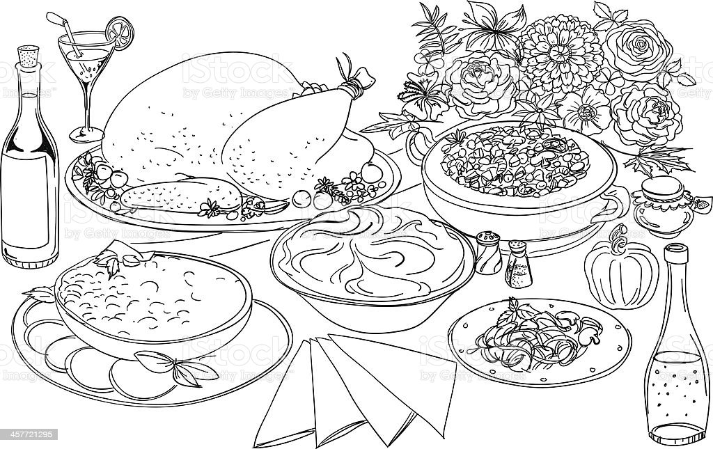 Feast Illustration In Black And White Stock Illustration