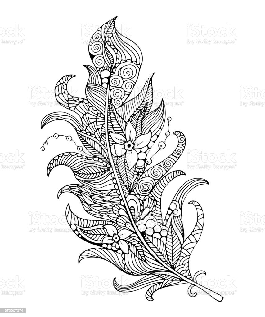Feather Coloring Page Stock Illustration - Download Image