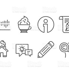 feather column diagram and idea lamp icons pencil cappuccino cream and writer signs [ 1024 x 829 Pixel ]