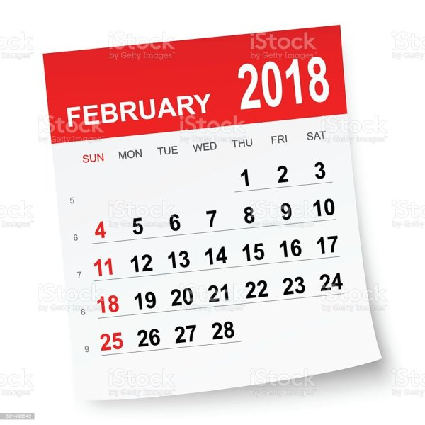 february 2018 calendar stock vector