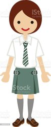 uniform clip student vector tie illustrations female cartoons royalty