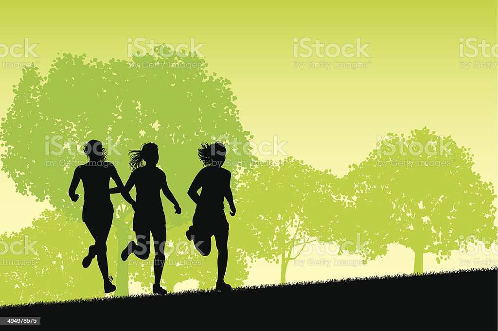 Female Joggers On Pathway Exercise Background Stock Vector