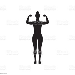 Female Muscle Flexing Fitness Vector Icon Woman Silhouette Flexing Arms Stock Illustration Download Image Now iStock