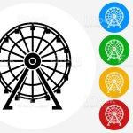 Vetores De Ferris Wheel Icon On Flat Color Circle Buttons E Mais Imagens De Amarelo Istock