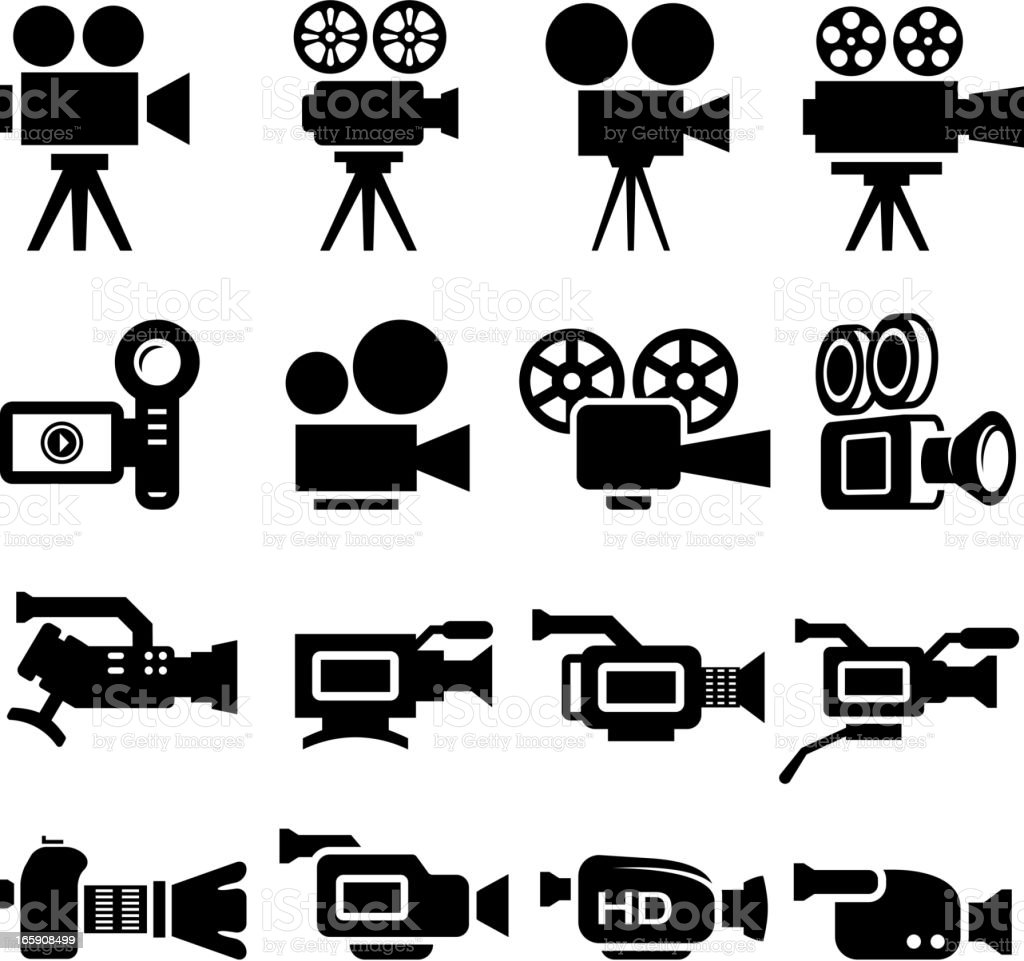 Film Camera Old And New Black White Icon Set Stock