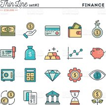 Finance Money Banking Business And Thin Line Color