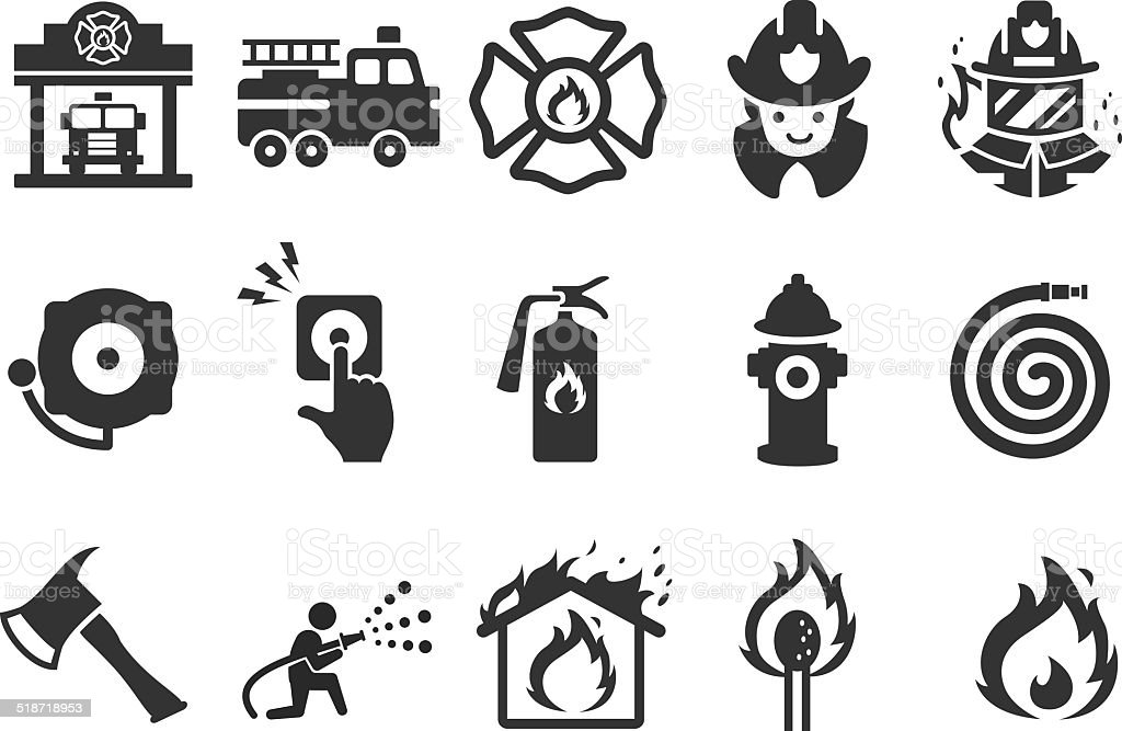Fire Department Icons Illustration Stock Vector Art & More