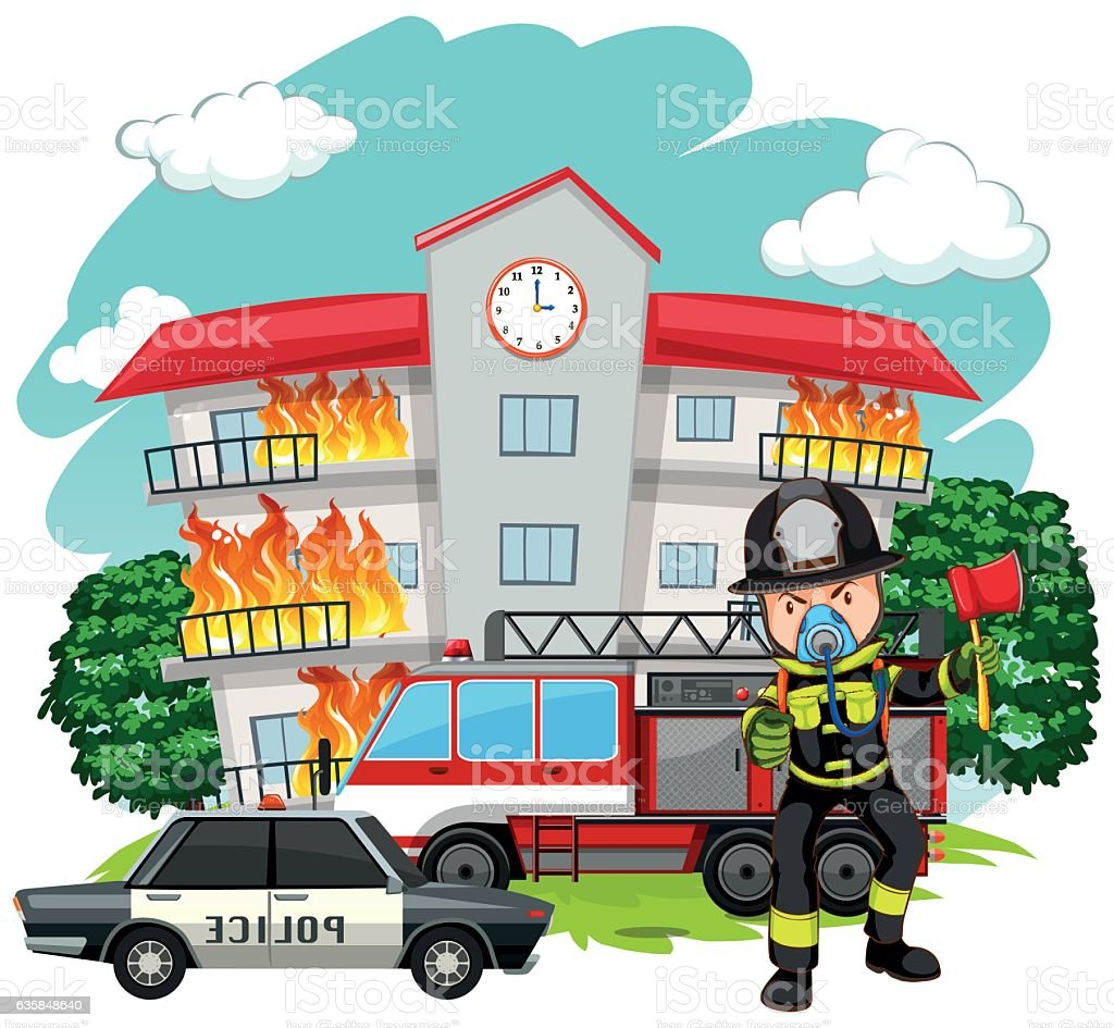 hight resolution of adult clip art computer graphic crime scene cutting fire fighter at the fire station royalty free