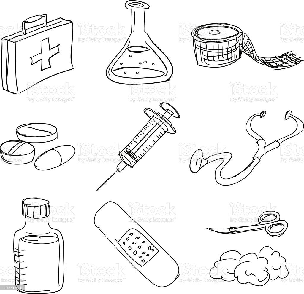 First Aid Kit In Sketch Style stock vector art 457717029