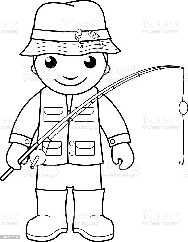 Fisherman Coloring Page For Kids Stock Illustration