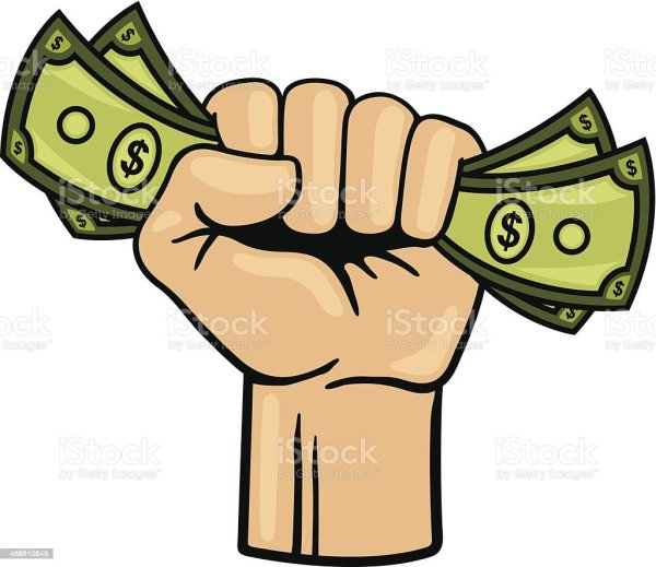 fist full of money stock vector