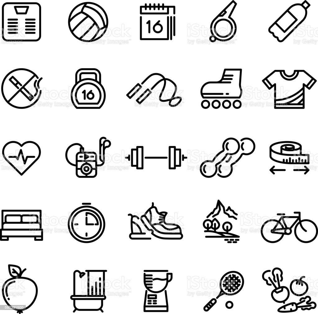 Fitness Health Sport Vector Outline Icons Stock Vector Art