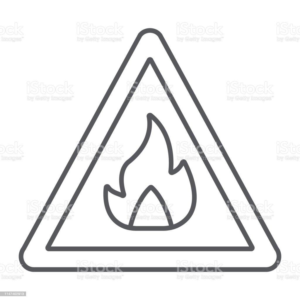 https www istockphoto com fr vectoriel lic c3 b4ne de ligne mince de signe inflammable avertissement et attention signe de gm1147402913 309491120