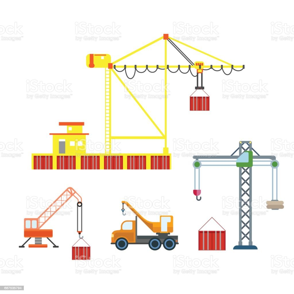 hight resolution of flat city crane construction sea port container box logistics transport icon set build your own world web infographic collection illustration