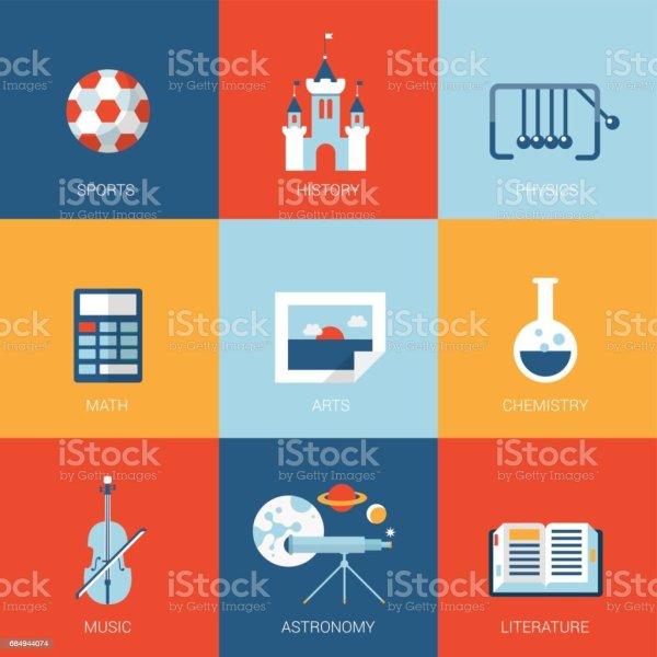 Flat College University School Campus Design Icons Set