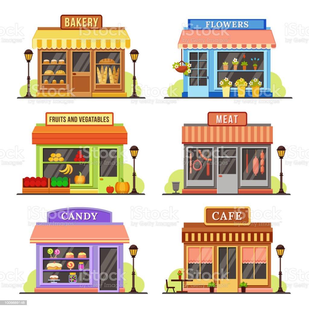 magasin de plat magasin moderne boutique vitrine et restaurant facade design shopping magasins cartoon illustration set vecteurs libres de droits et plus d images vectorielles de affaires istock