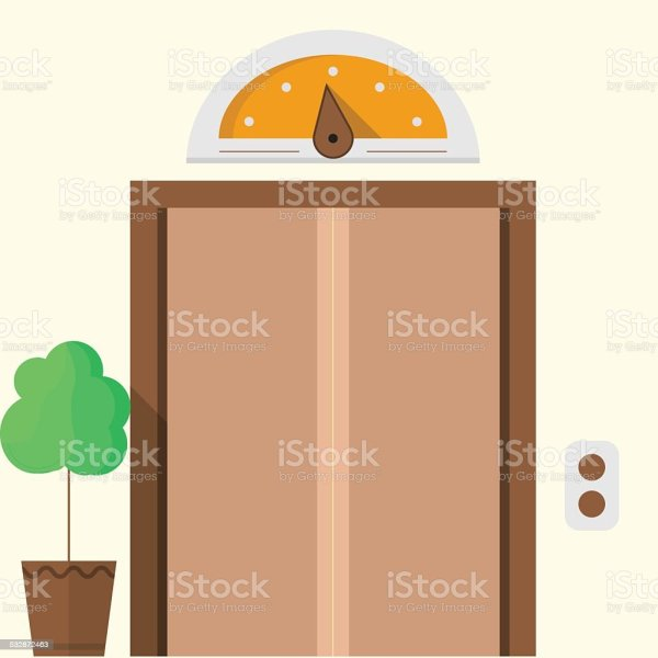 Flat Vector Icon Hotel Closed Elevator Stock